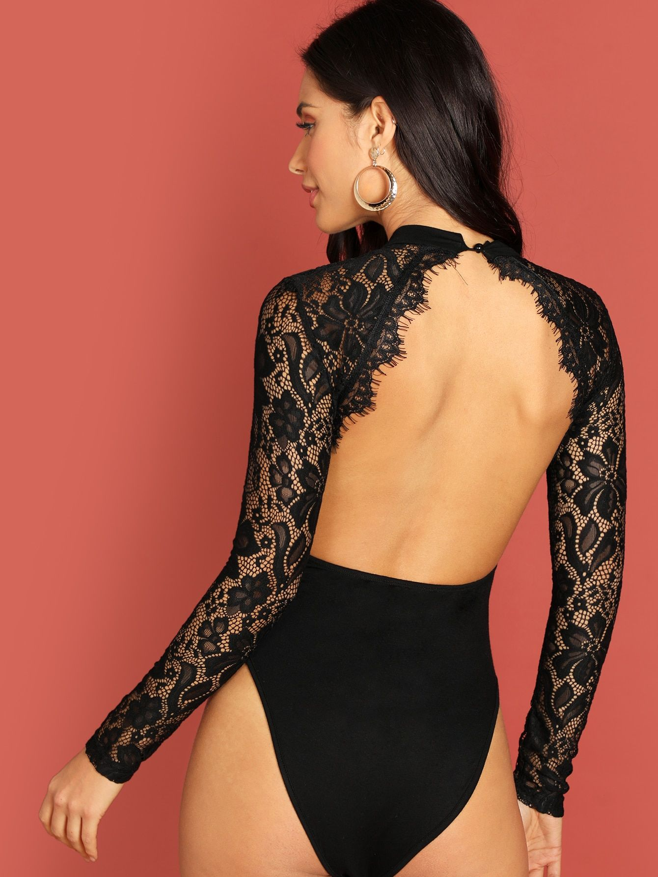 24313aa968 Backless Lace Applique Bodysuit -SHEIN(SHEINSIDE) | Lingerie in 2019 ...