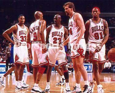 1990s Chicago Bulls Starting Five 8x10 Photo