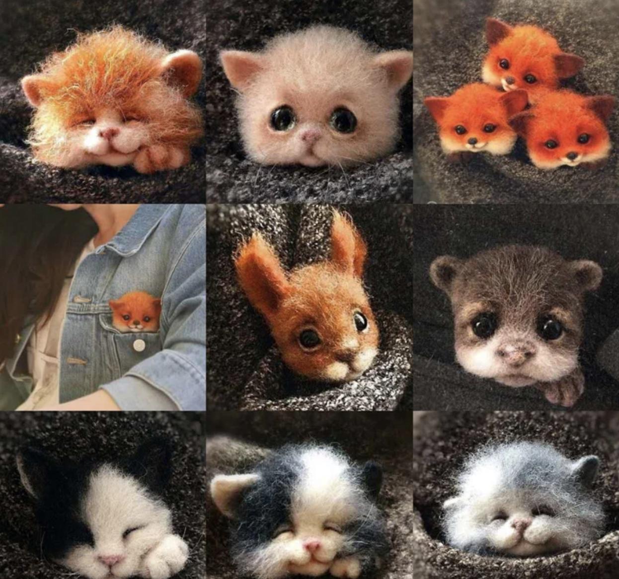 1 Set Animal Cat Craft Felt Needle Felting Kit For Beginner Christmas Gift