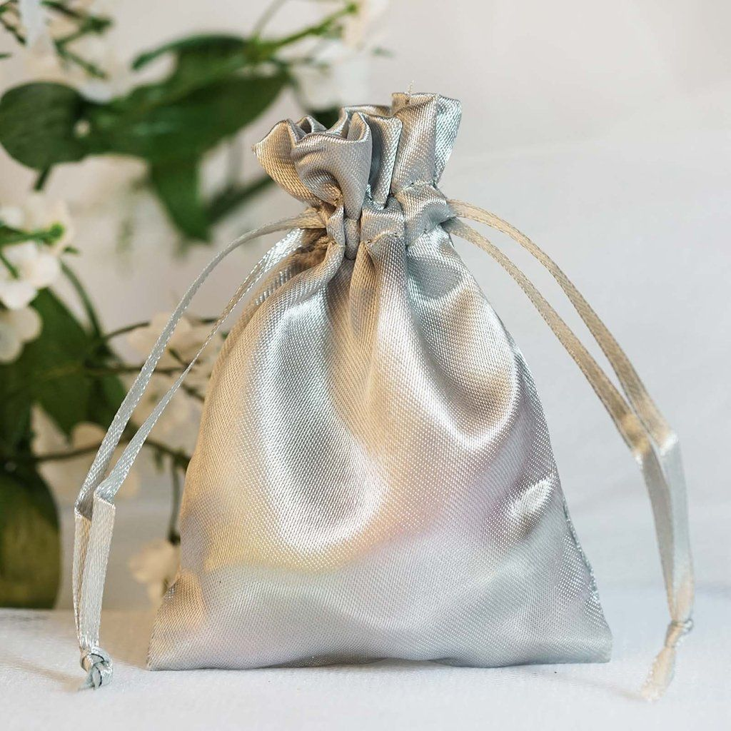 Pack Of 12 3 X4 Silver Satin Party Favor Bags Drawstring Pouch Gift Bags In 2020 Satin Bags Favor Bags Bags