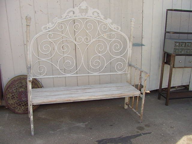 Bench Made With Vintage Iron Headboard 200 Iron