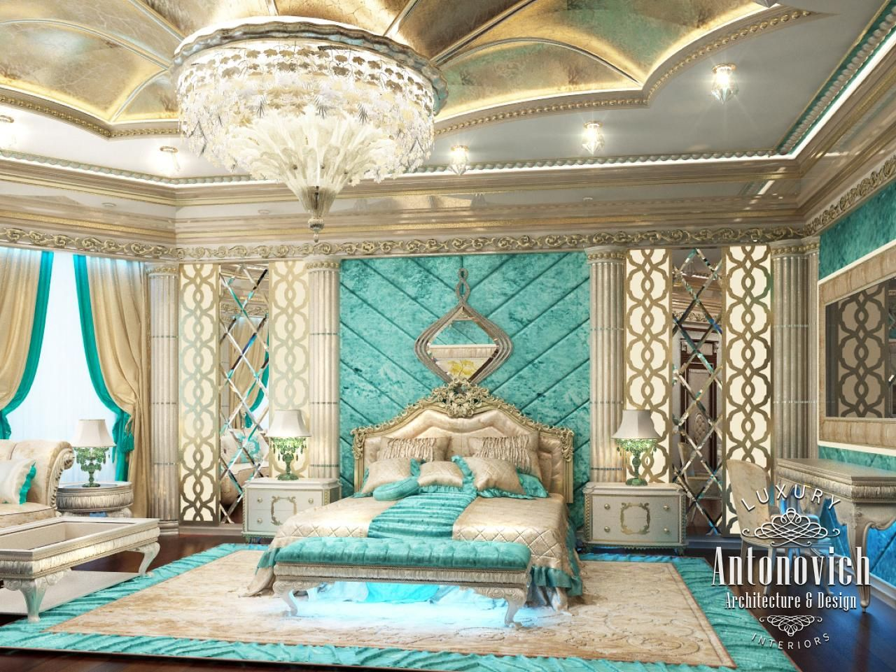 luxurious arabic style bedroom Bedroom Design in Dubai, Luxury Bedroom in Classic, Photo