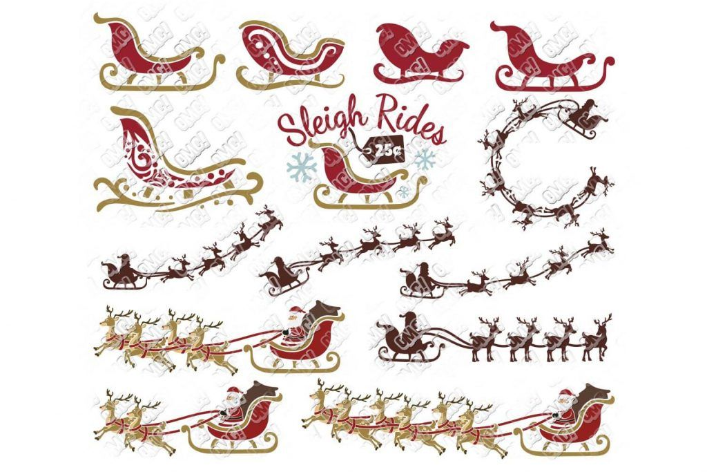 Santa Sleigh SVG Bundle in SVG/DXF/EPS/JPG/PNG Santa