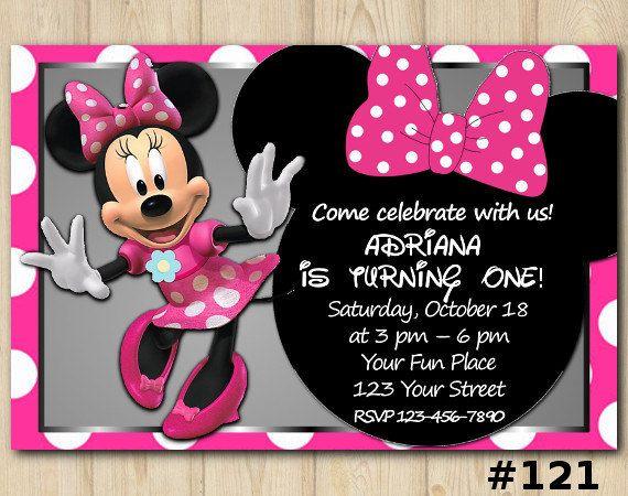 Minnie Mouse Invitation birthday custom