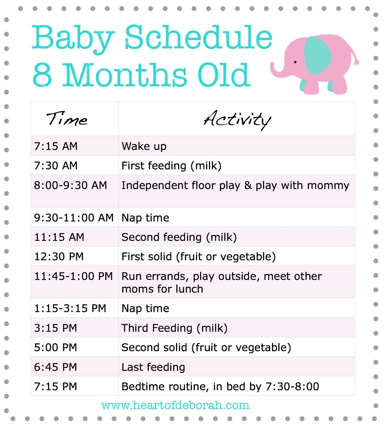 Sample Baby Schedule 8 Months Old Heart Of Deborah Baby Schedule Baby Routine 8 Month Old Baby