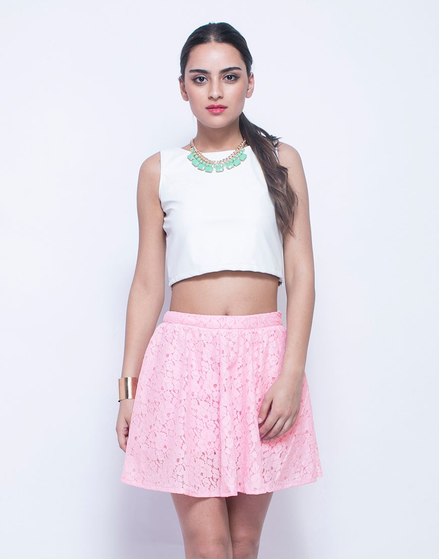 FabAlley Think Pink Lace Skater Skirt : Rad pale pink skater skirt featuring a medium-rise waist and pink floral lace. Pleated body and Zip closure on the side. Comes with a matching jersey lining.  Work It - Looks way cute with a milkmaid braid and a crop tee.