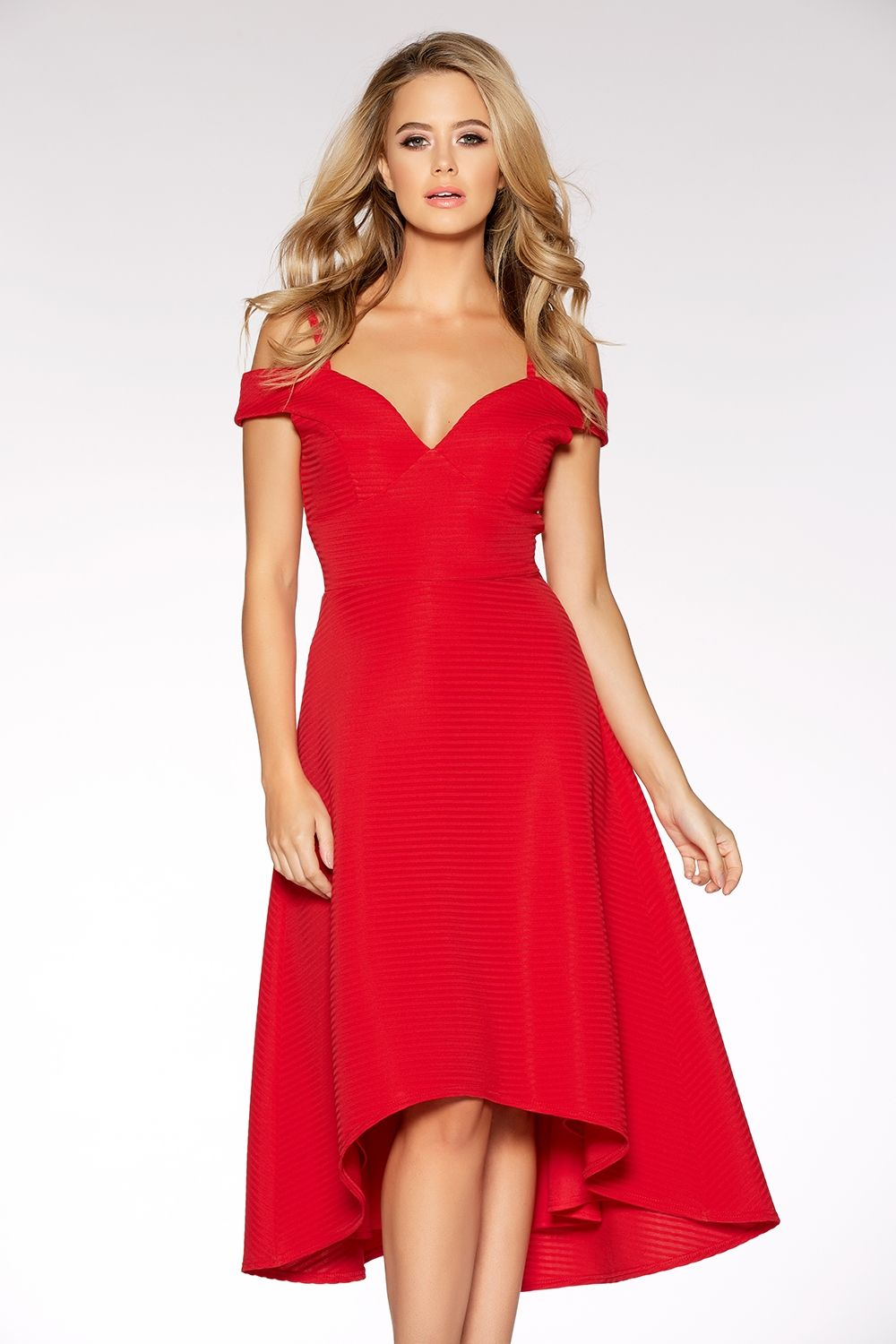 Red Sweetheart Neck Strappy Bardot Dress  5fc29143e