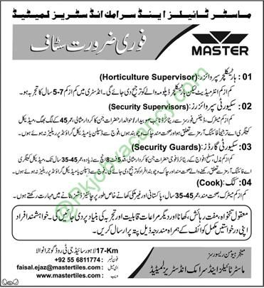 Master Tiles and Ceramic Industries Limited Gujranwala urgently ...