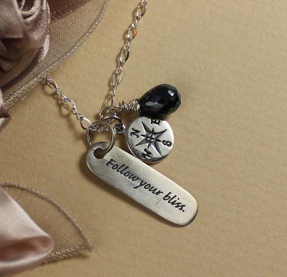 Graduation Necklace, Travelers Silver Necklace,  Compass, Travel  Jewelry, Graduation Keepsake. $39.95, via Etsy.