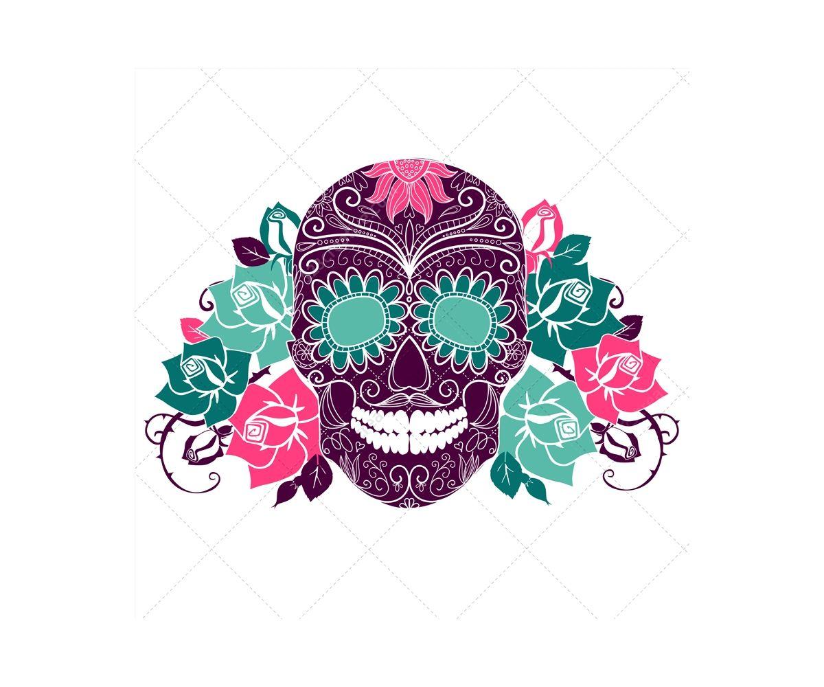 3eed12c10adc0 Sugar skull vectors and skull patterns - sugar skull with roses ...