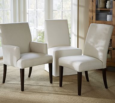 PB Comfort Upholstered Square Arm Dining Side Chair , Sunbrella(R