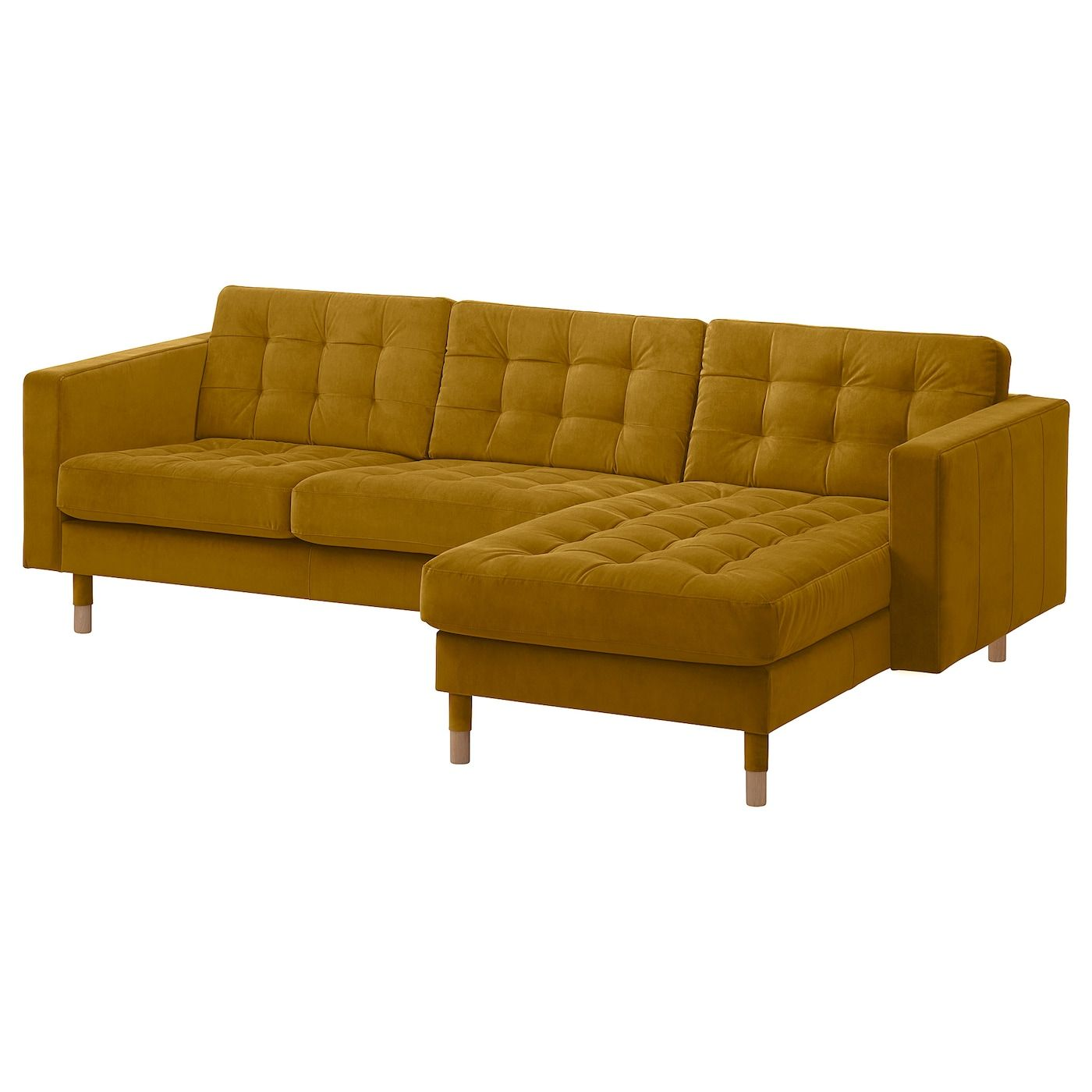 Landskrona Velvet Yellow 3 Seat Sofa Width 242 Cm Ikea In 2020 Stylish Living Room Chaise Longue Sofa