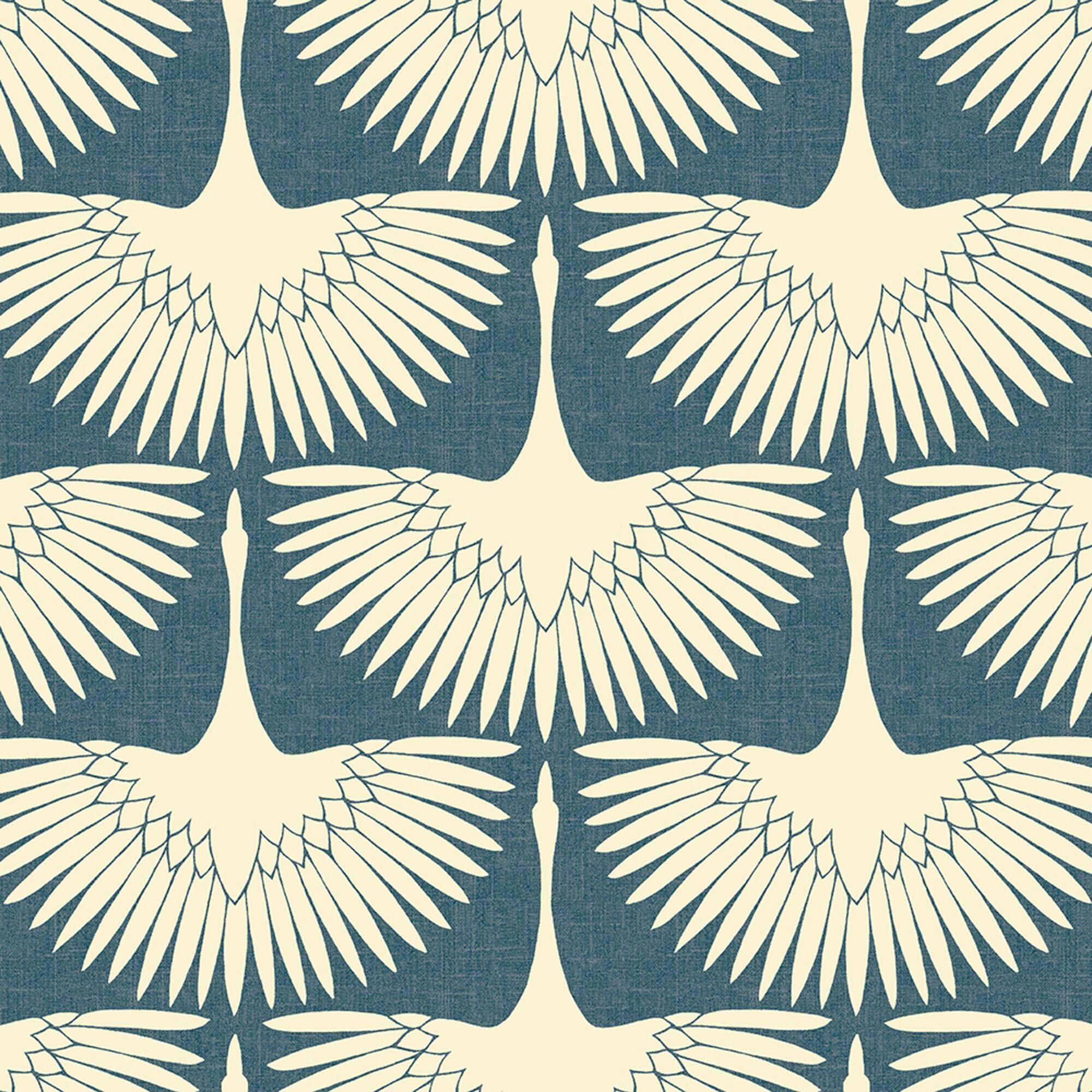 Blue And White Art Deco Cranes Peel And Stick Wallpaper By World Market Peel And Stick Wallpaper Removable Wallpaper Wallpaper