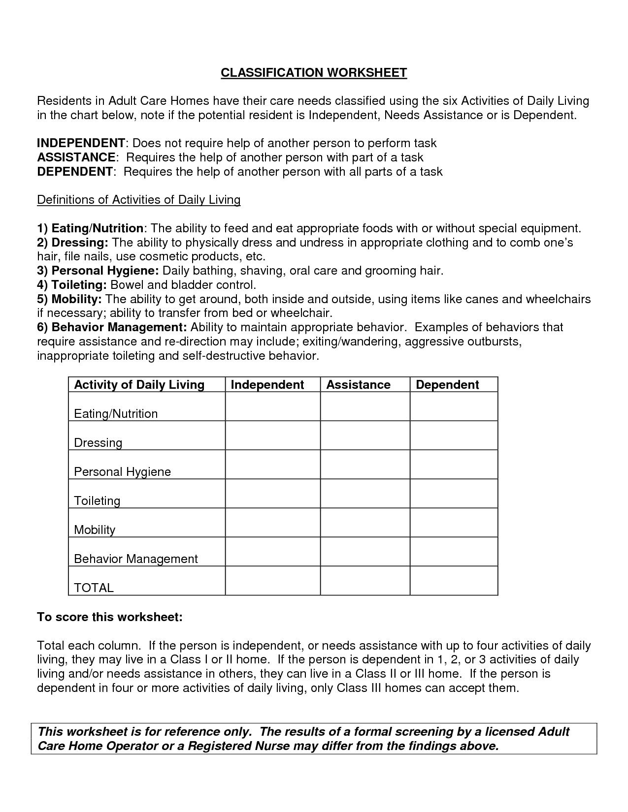 Free Independent Living Skills Worksheets In