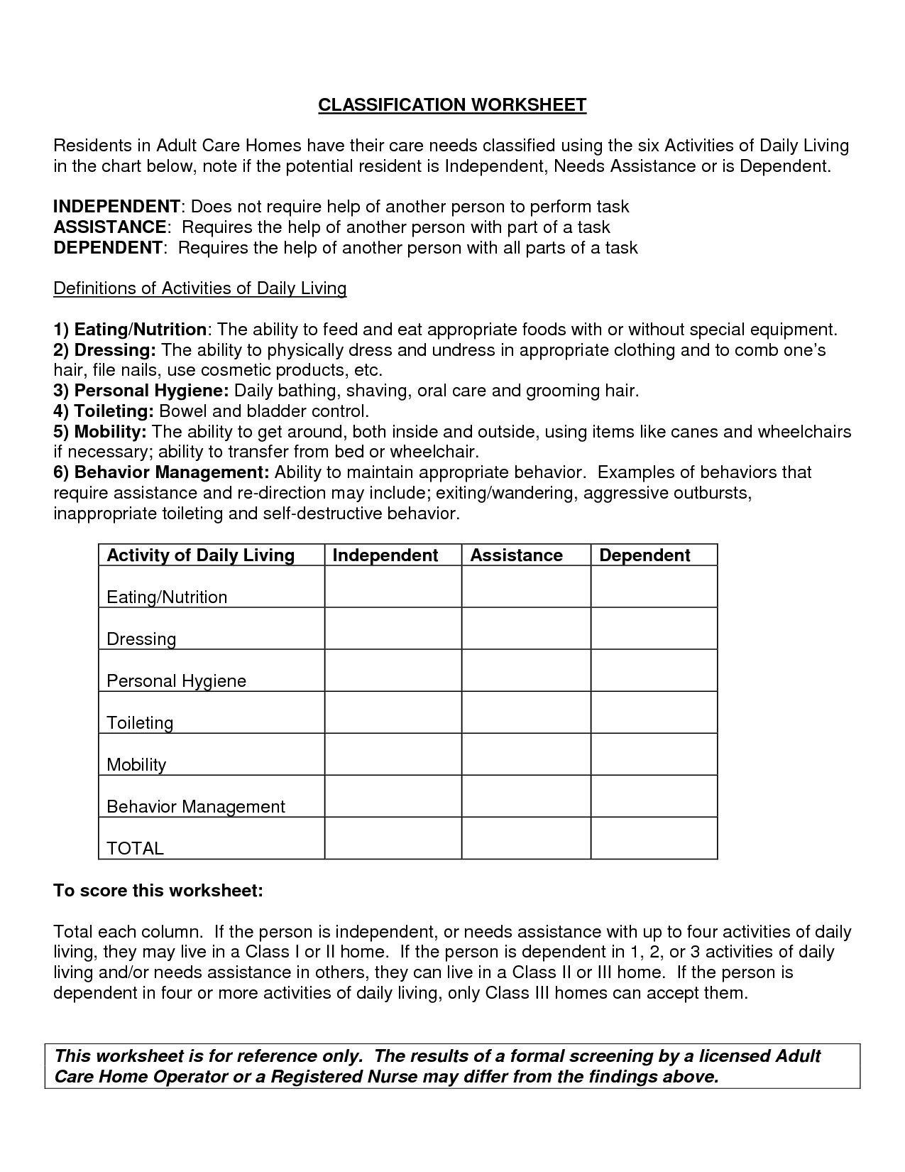 Free Independent Living Skills Worksheets In