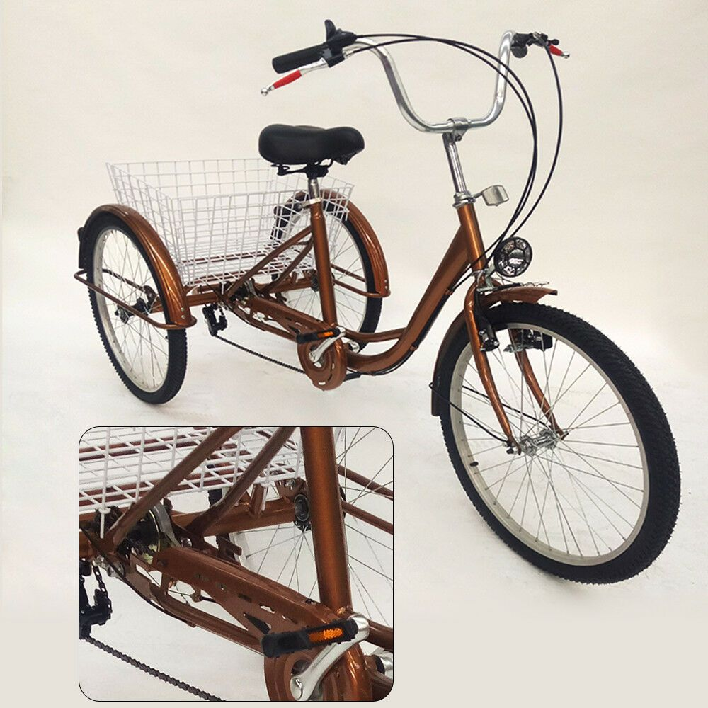 Ebay Sponsored New Sale 24 3 Wheel 6 Speed Tricycle Trike Bicycle Bike Cruise Basket Gold Dhl With Images Trike Bicycle Bicycle Bike Tricycle