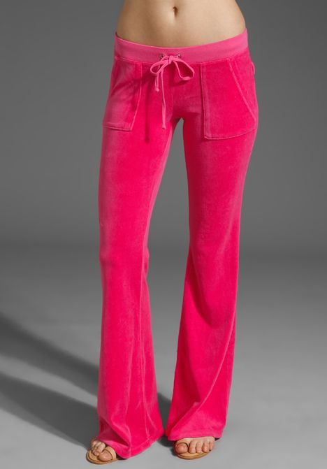 Juicy Couture Velour Snap Pocket Pant In Dragon Fruit 120 00 Juicy Couture Flare Leg Pants Revolve Clothing