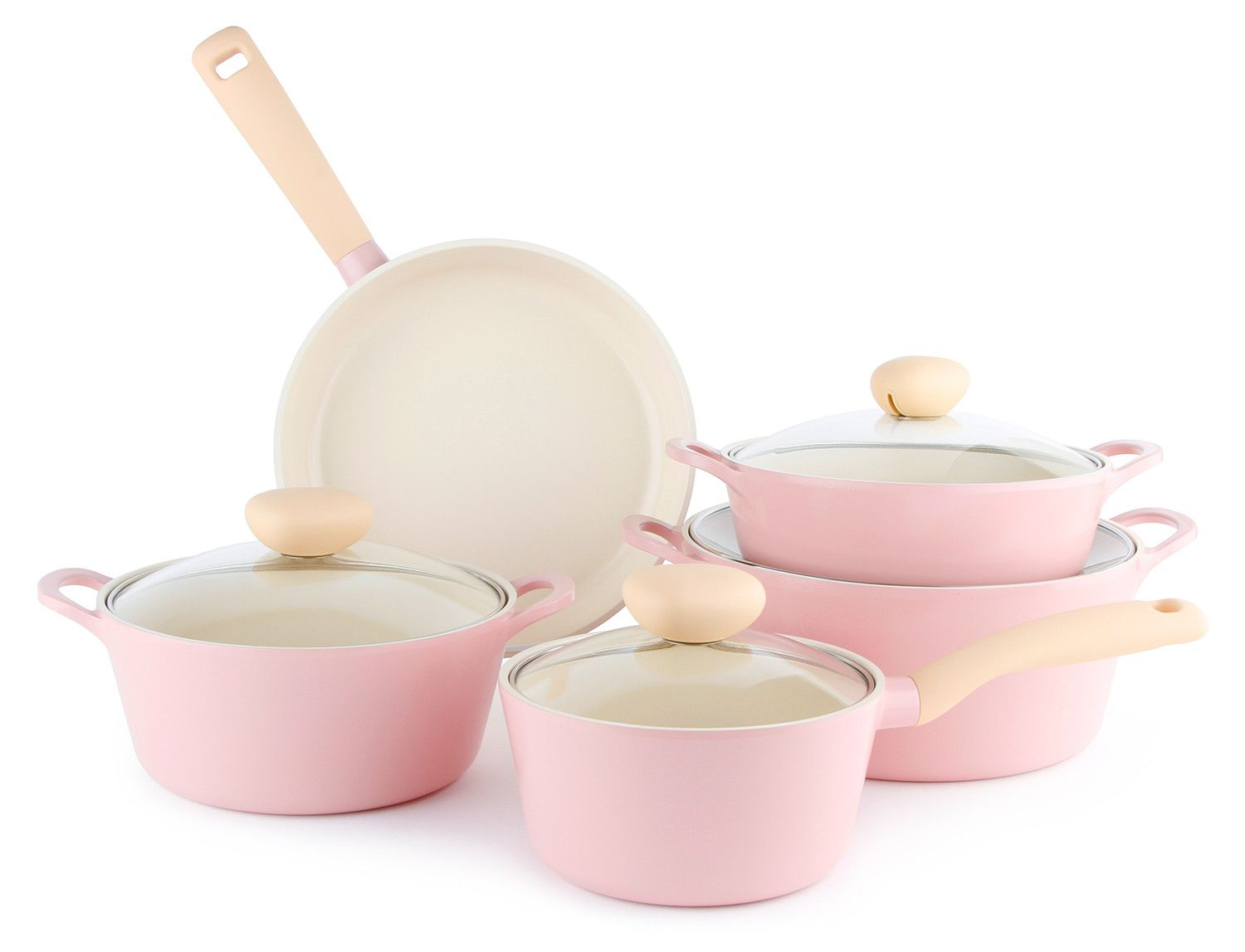 Retro 9 Piece Ceramic Nonstick Cookware Set in Pink, Glass Lid