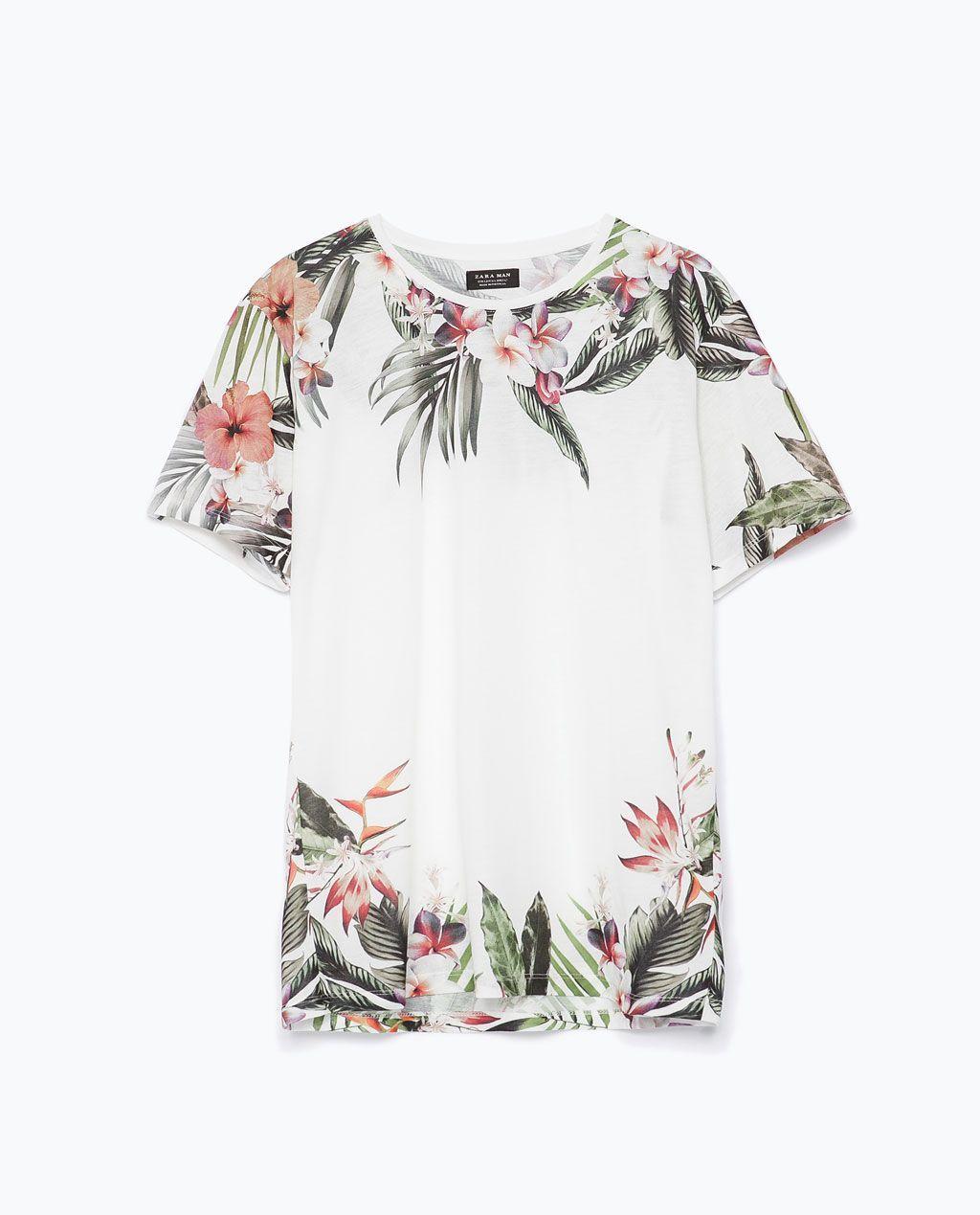 Zara flannel shirt mens  KOSZULKA W KWIATY  ZARA Polska  Mens Tshirts  Pinterest
