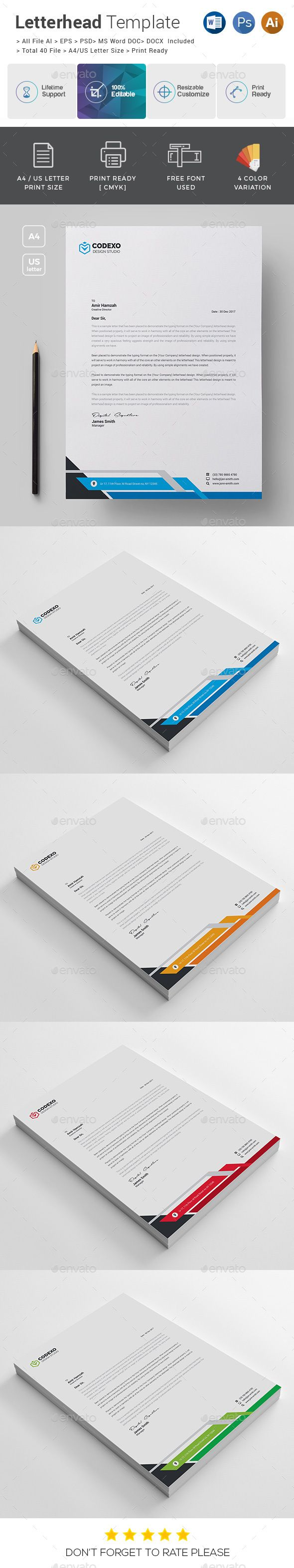 letter format on letterhead%0A Letterhead Template   Letterhead template  Stationery printing and Print  templates