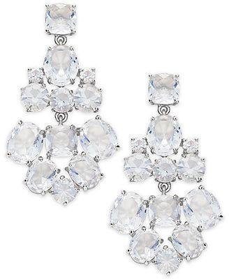 kate spade new york Earrings, Silver-Tone Glass Bead Chandelier Earrings