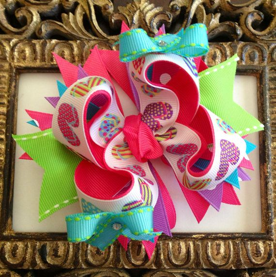 Flip Flop Boutique Hairbow with 6 Swarovski by BumbleBeeBowTeek, $7.50