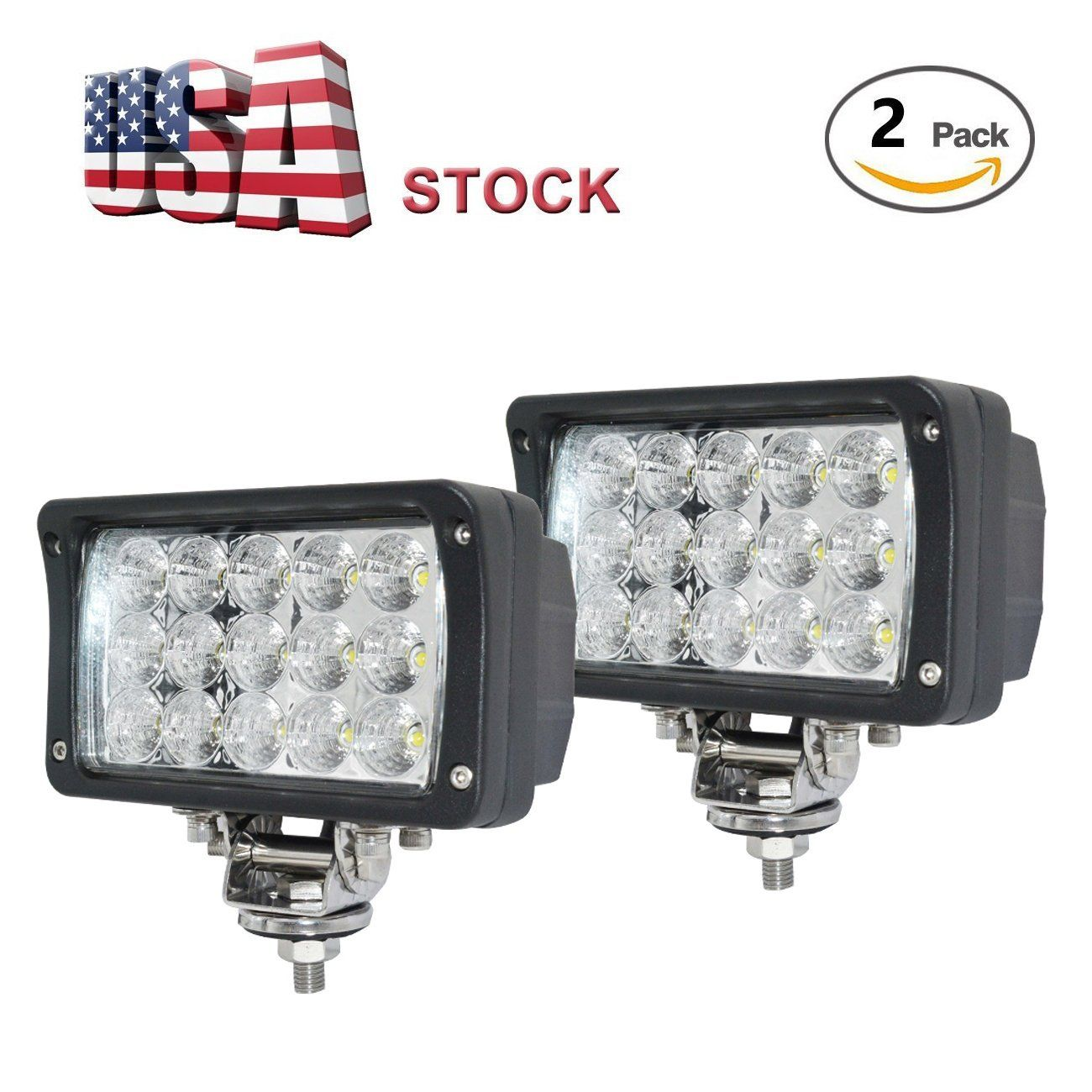 Led Work Lights For Truck 2 Pcs 6 Inch Led Light Bar 45w 12v Flood Driving Fog Light Flush Mount Brackets Led Work Light Led Light Bars Led Lights For Trucks