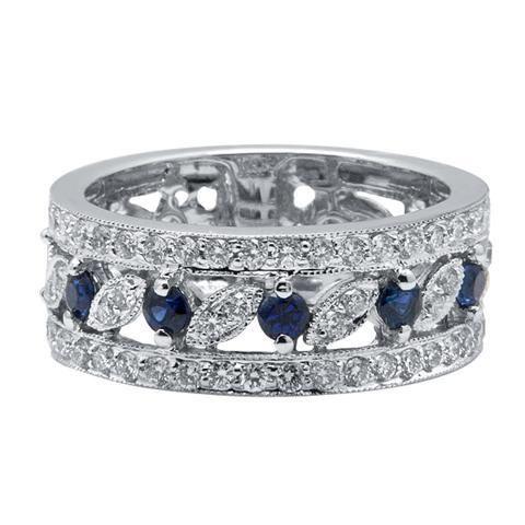 Wide 14k white gold pave diamond filigree sapphire wedding band