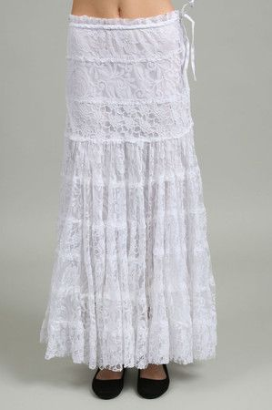 Long Lace Skirt in White: Buy M.Fredric Collection Clothing at ...