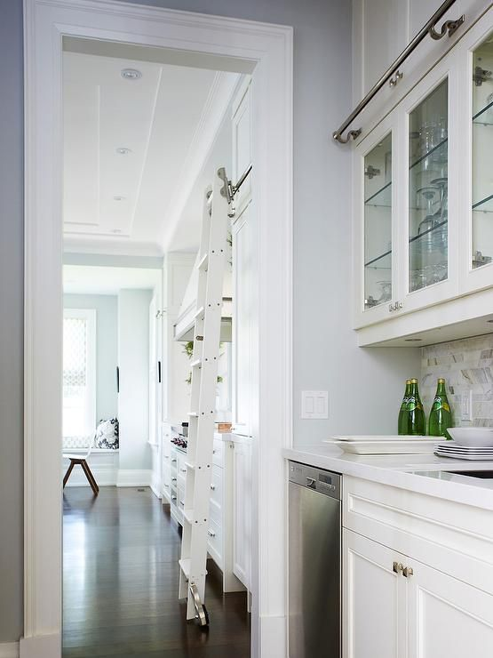 Best White Butler S Pantry Features Glass Front Upper Cabinets 640 x 480