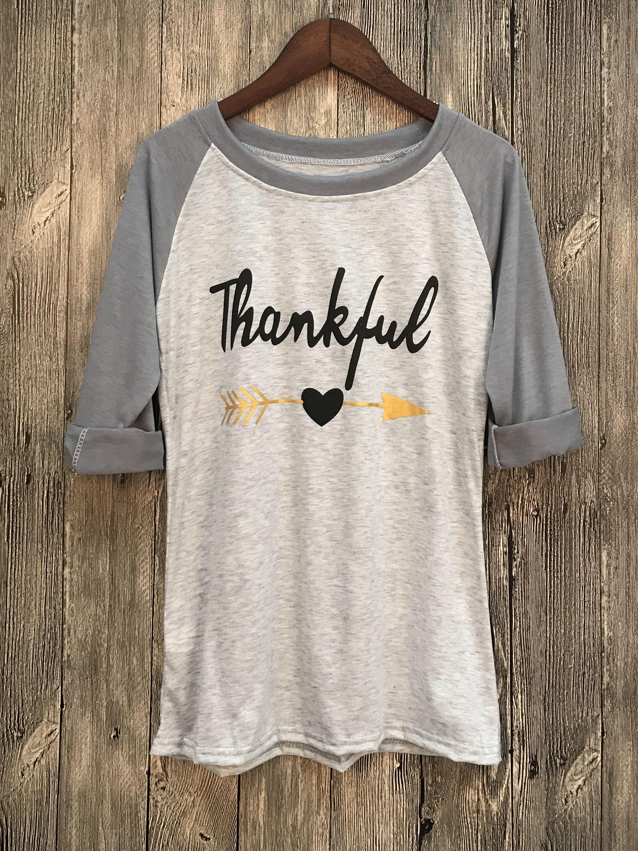 Thankful Printed Raglan Tee Shirt All Dressed Up Shirts Tee