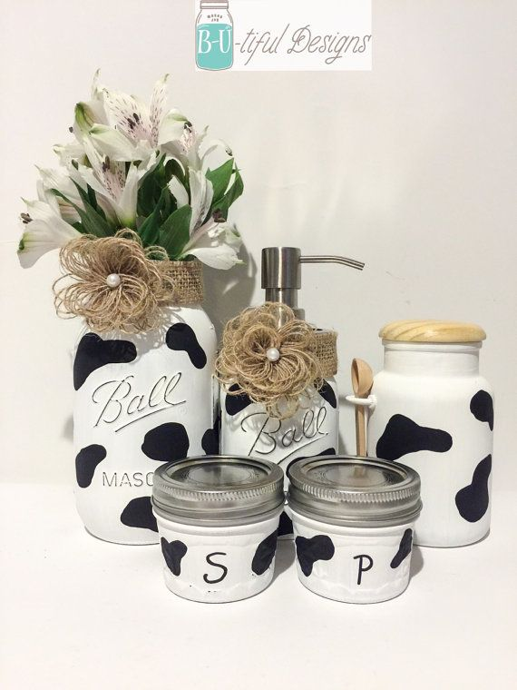 Cow Print Kitchen Decor Mason Jars Flower Vase Soap Dispenser Cow Kitchen Decor Cow Decor Cow Kitchen