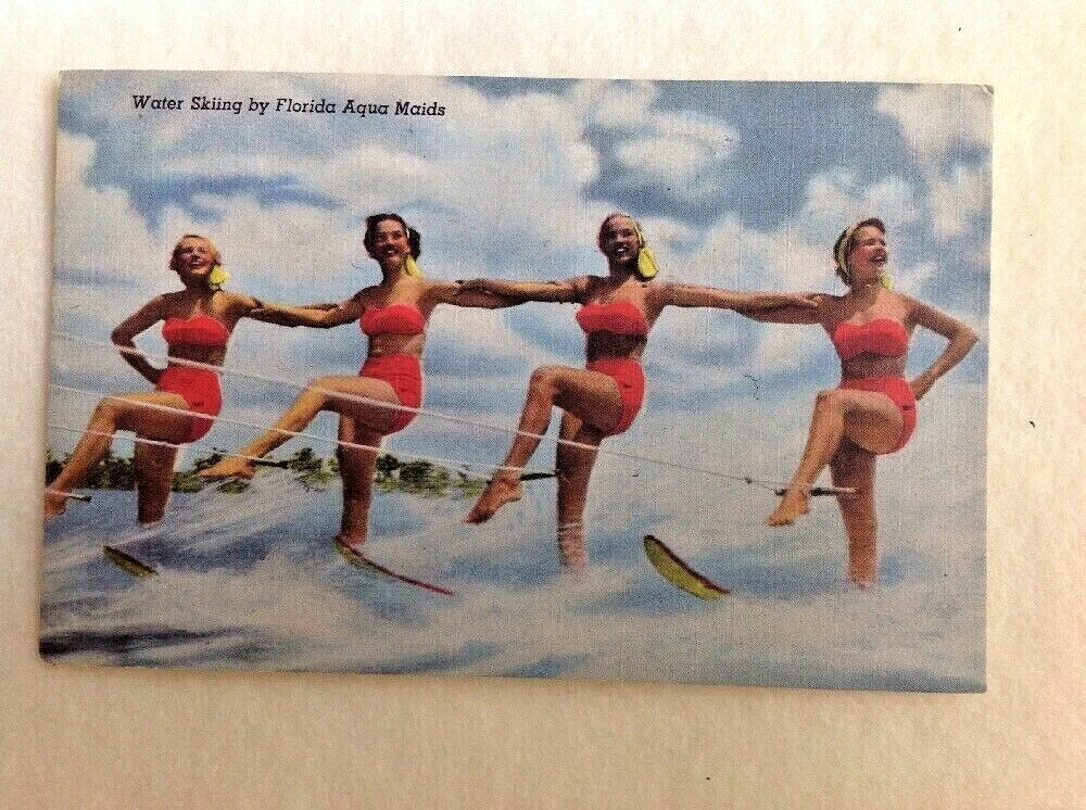 Florida Aqua Maids Water Skiing Postcard Linen Tropical
