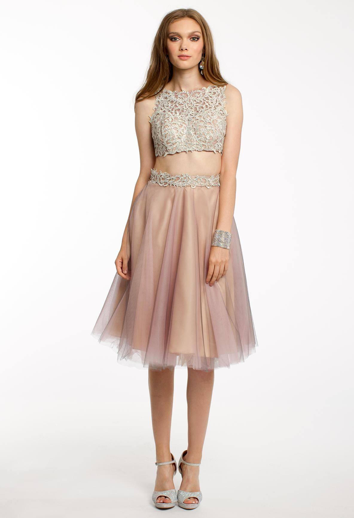 Jersey and tulle dress lace prom dresses two pieces and lace