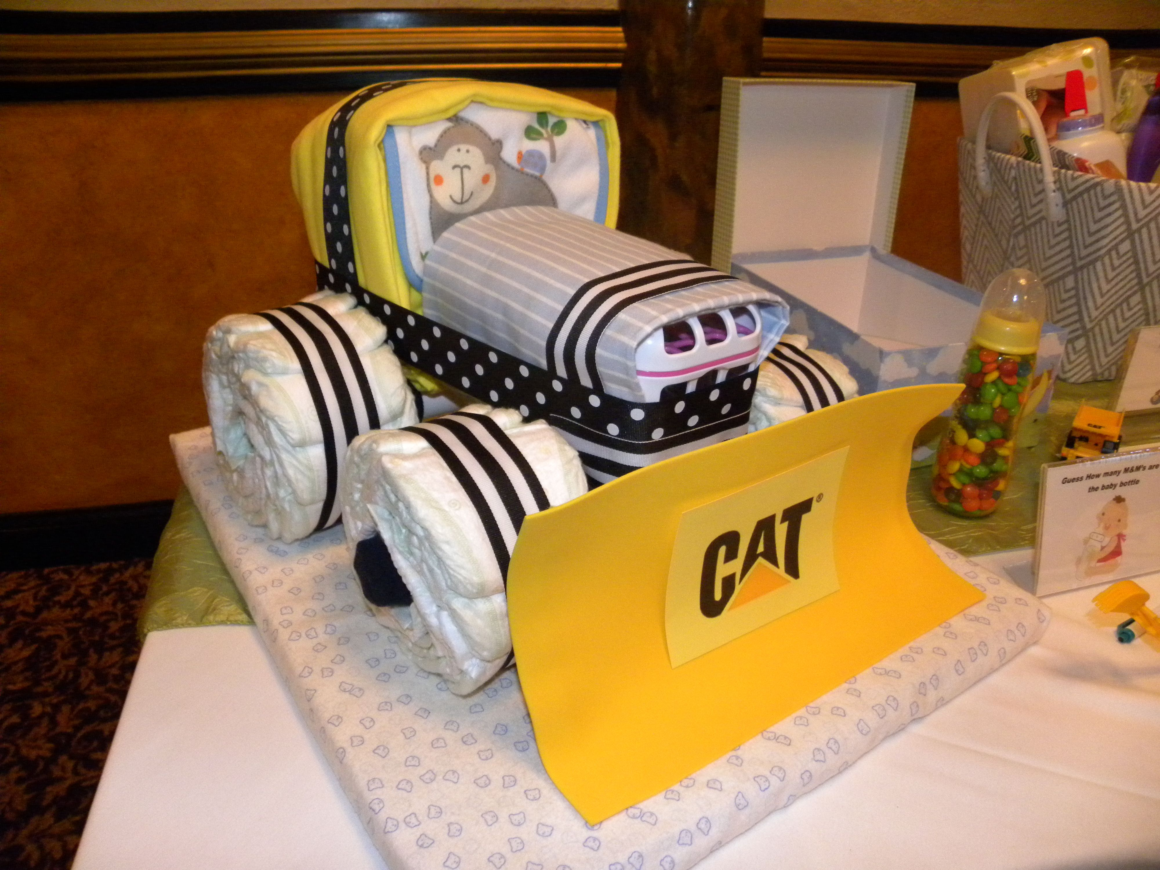 DIY my version of a CAT tractor diaper cake based upon a truck