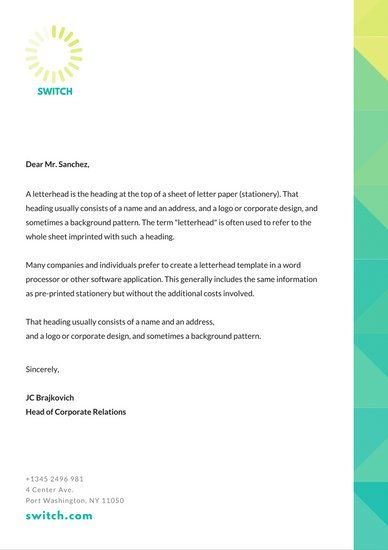 Teal Yellow Gradient Border Professional Letterhead  Stellar
