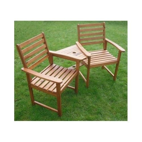 set table chairs garden patio wooden benches duo love seat companion furnitures