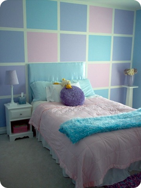 Pink, blue, purple girls room. I would love to do this for