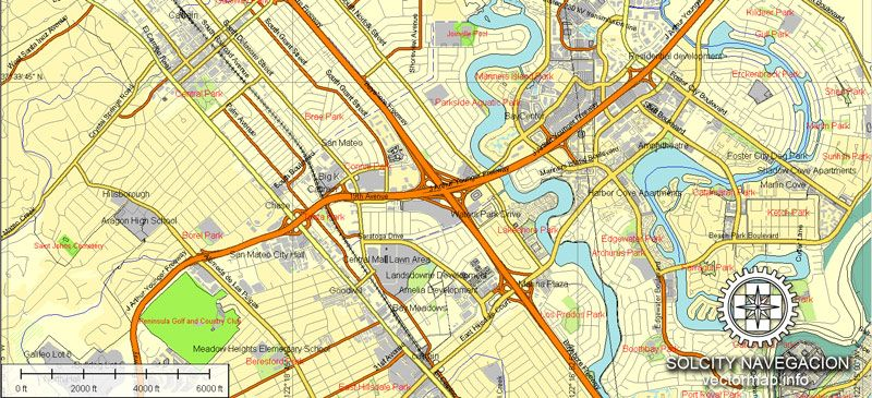 San Francisco vectorial map United States of America Printable