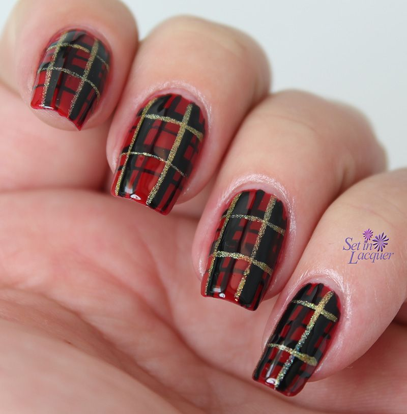Holiday - or any day - plaid nail art - Set in Lacquer - Holiday - Or Any Day - Plaid Nail Art - Set In Lacquer Fancy