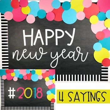 New Years Bulletin Board or Door Kit - 2018 Resolutions Craftivity