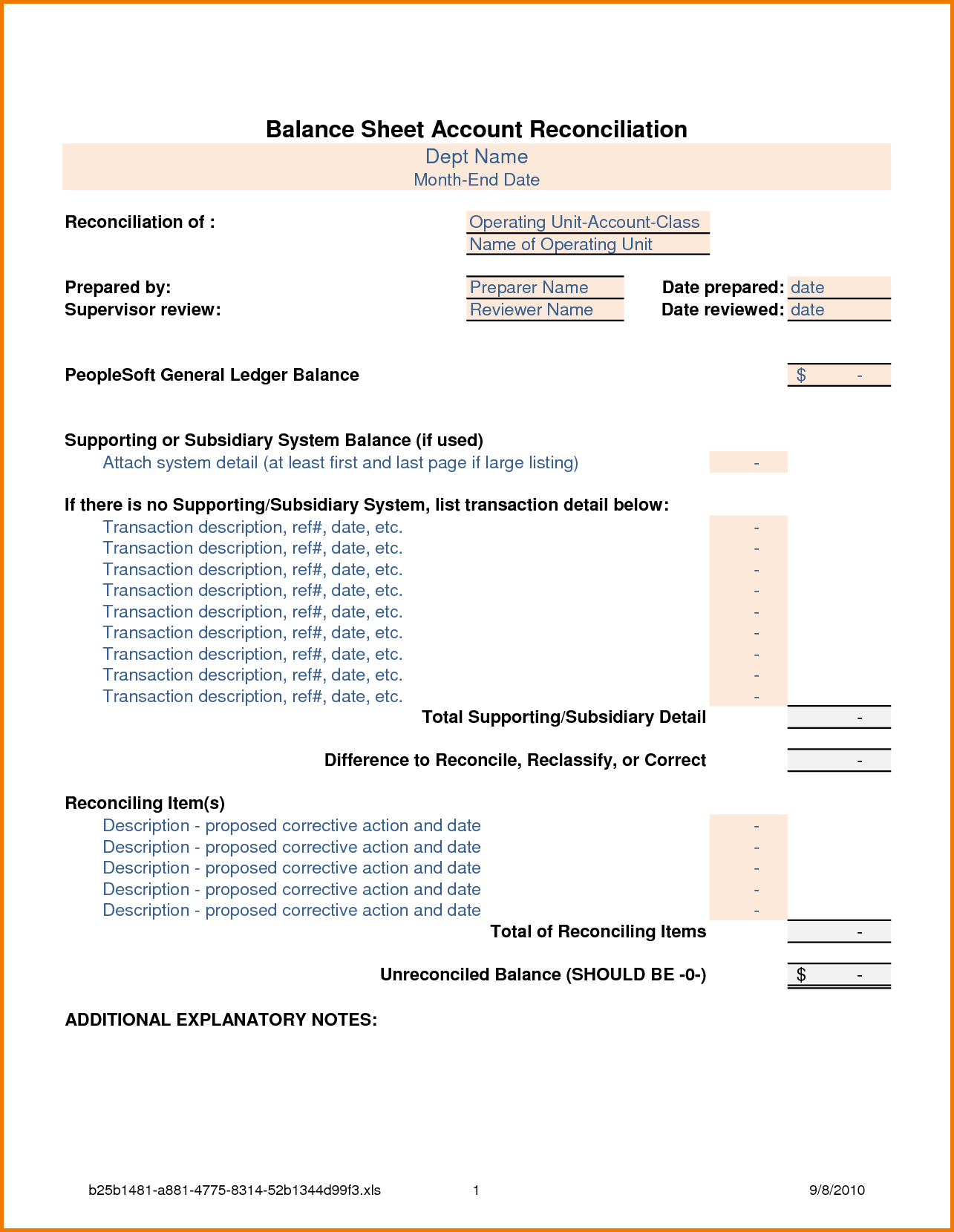 Balance Sheet Reconciliation Template Excel