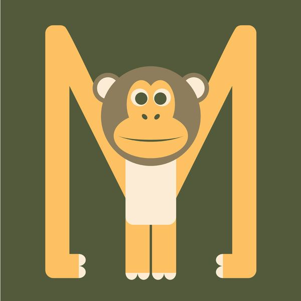 letter m // animal alphabet // monkey art print by jen montgomery