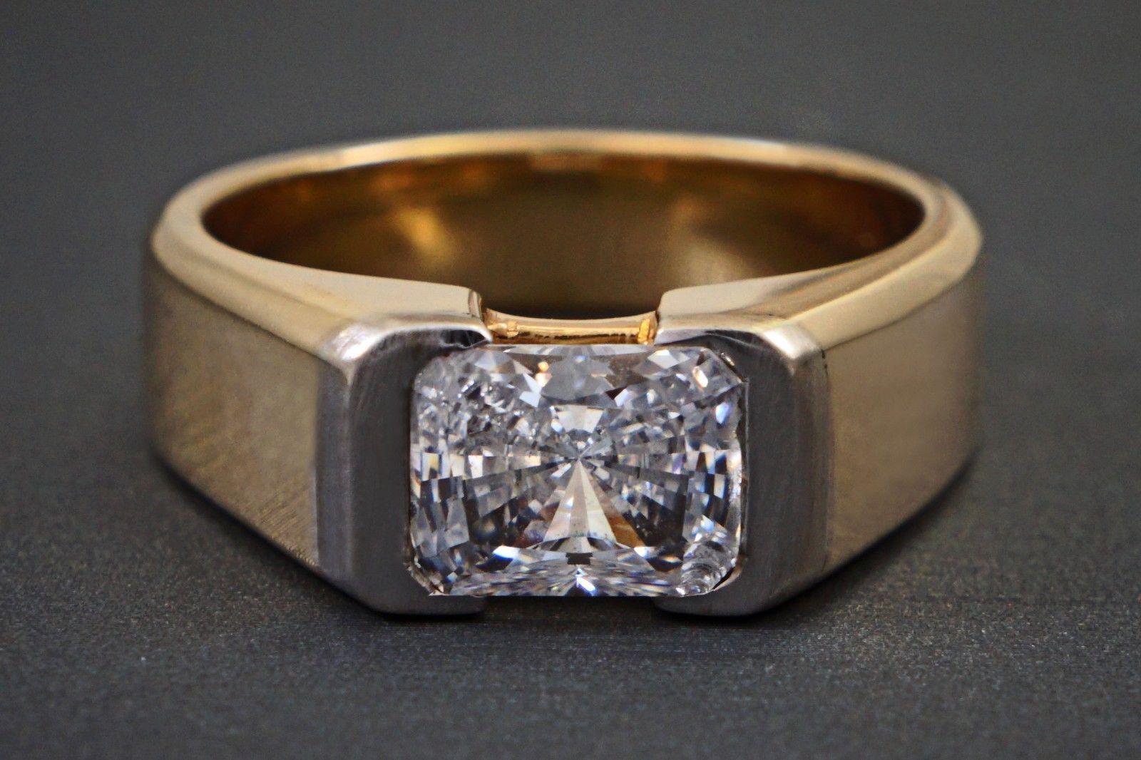 Ct radiant cut diamond in tone k yellow gold menus wedding
