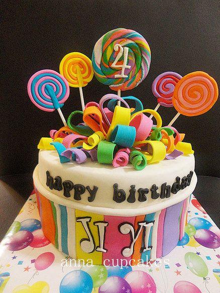 Super Lollipop Themed Birthday Cake Lollipop Cake Birthday Party Cake Birthday Cards Printable Inklcafe Filternl