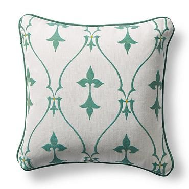 Inspired by antique French gates, the delightful Sunbrella® Bexley Frame Jade Outdoor Pillow is sure to spruce up any outdoor setting.  | Frontgate: Live Beautifully Outdoors