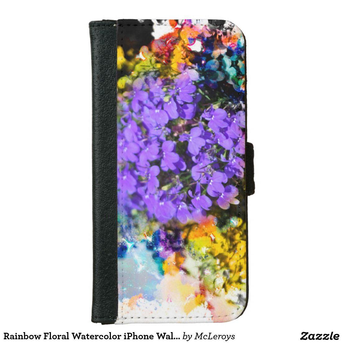 Rainbow Floral Watercolor iPhone Wallet iPhone 6 Wallet Case