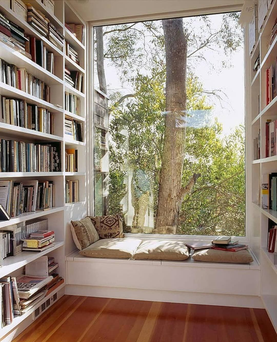 Home Library. Window Seat, Pillows, Best Reading Corner