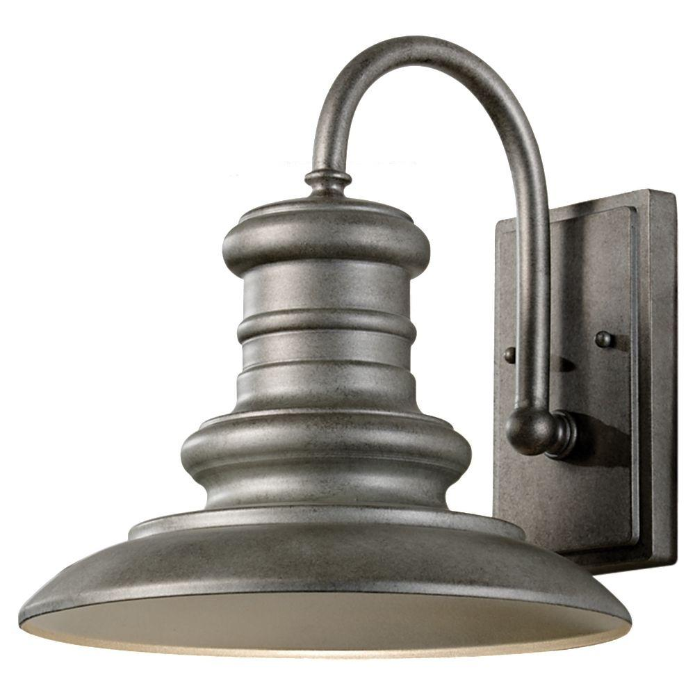 Redding station light tarnished silver outdoor wall lantern