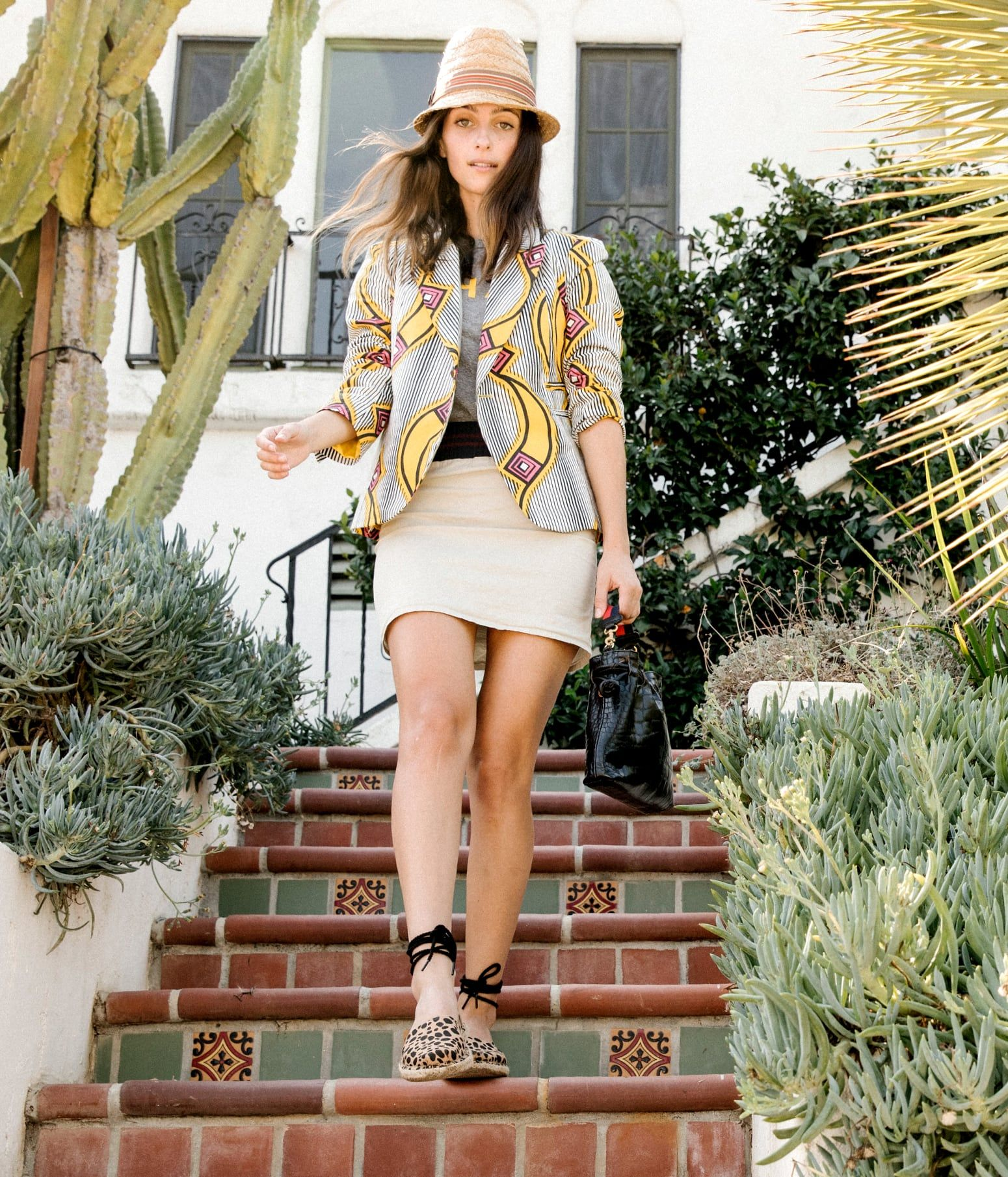 782f819fcea Lifestyle of woman wearing the Clare V. Leopard Heritage Canvas Women s Katalina  Espadrilles.